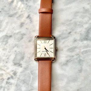 Nine West Rectangular Gold Frame Leather Watch